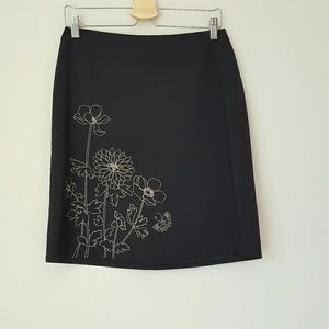 Ann Taylor floral embroidered pencil skirt